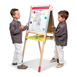 Janod Graffiti 3-in-1 Adjustable Easel with Magnetic Dry Erase and Chalk Boards