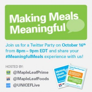 World Food Day  #meaningfulmeals Twitter party Oct 16 RSVP