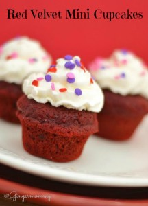 Red Velvet Mini Cupcakes with Cream Cheese Frosting