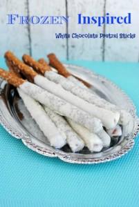 Frozen Inspired White Chocolate Pretzel Sticks
