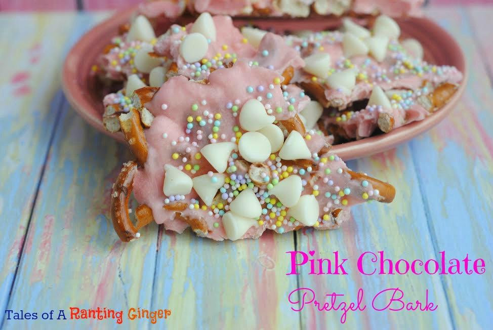 pink chocolate pretzel bark