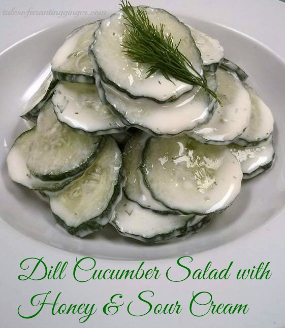 Dill Cucumber Salad with honey and sour cream