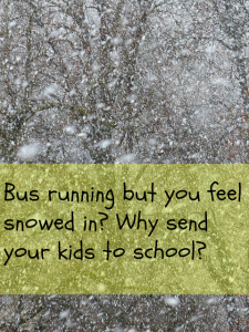 Bus running but you feel snowed in? Why send your kids to school?