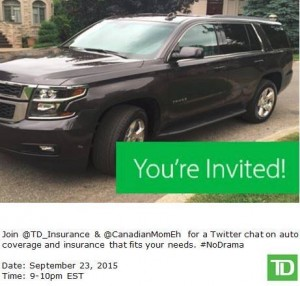Join us for the TD Auto Insurance #NoDrama Twitter Chat SEPT 23, 9-10PM #AD