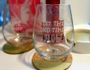 Stemless wine glasses from Hallmark Canada for Valentine's Day